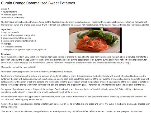 Cumin-Orange Carmelized Sweet Potatoes