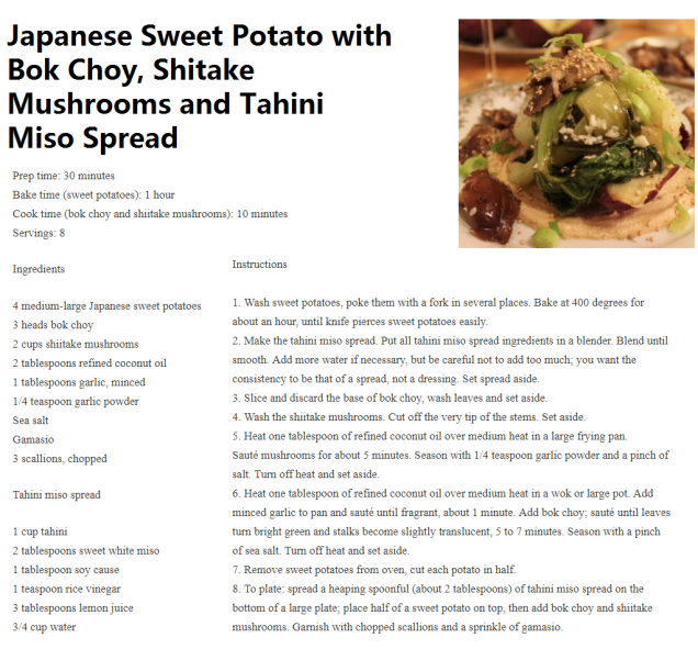 Japanese Sweet Potato with Bok Choy